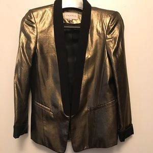 Sandro gold lamè fitted tailored blazer.